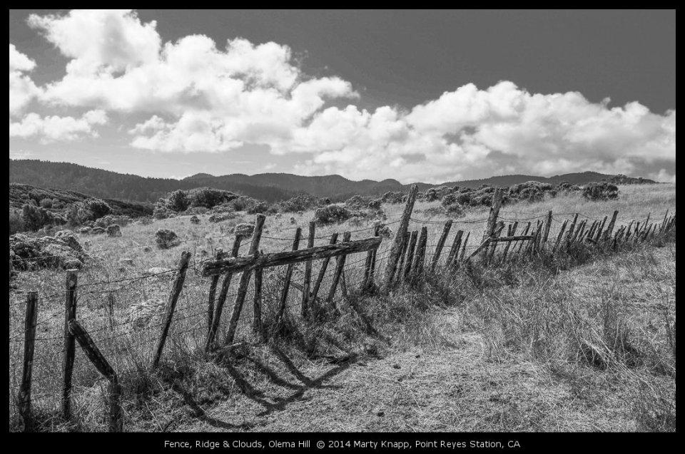 Fence, Ridge & Clouds, Olema Hill